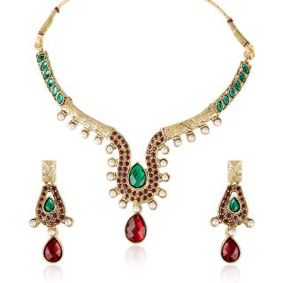 Shining Diva Golden & Red Necklace & Set