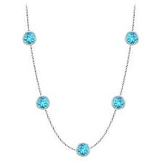 By The Yard Blue Topaz Necklace With Five Stone In 14K White Gold 1 Ct