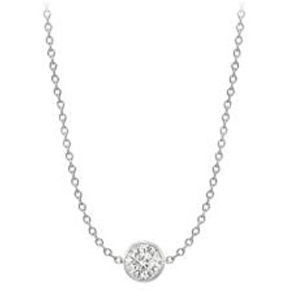 Cubic Zirconia By The Yard Necklace In 14K White Gold Two Ct Double Up Chain