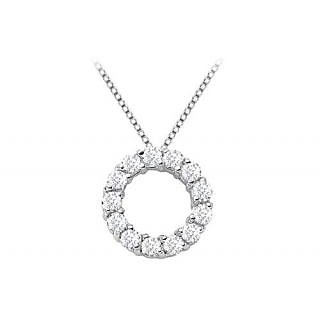 Circle Of Love Diamond Pendant Necklace In 14K White Gold With 1 Ct Diamonds