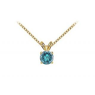 Blue Diamond Solitaire Pendant 14K Yellow Gold 2.00 Ct Diamond