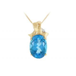 Blue Topaz And Diamond Pendant 14K Yellow Gold-7.75 Ct
