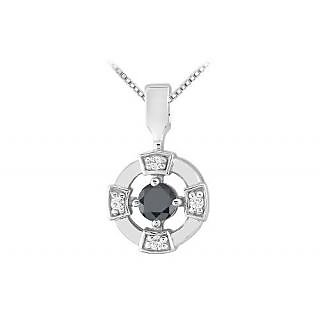 Black And White Diamond Circle Pendant 14K White Gold-0.25 Ct Diamonds
