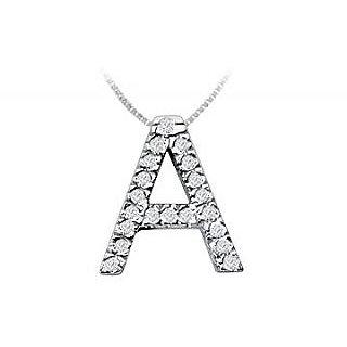 Classic A Initial Diamond Pendant 14K White Gold-0.30 Ct Diamonds