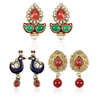 Shining Diva Ethnic Combo of Three Pairs of Earrings