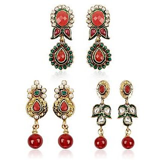 Shining Diva Traditional Combo of Three Pairs of Earrings