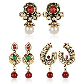 Shining Diva Combo of Three Pairs of Festive Earrings