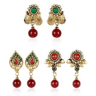 Shining Diva Combo of Three Pairs of Traditional Earrings