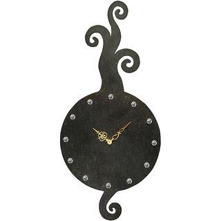 Long Curled Motifs Brown Textured Wall Clock