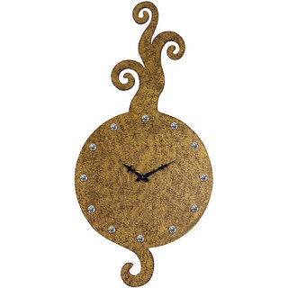 Long Curled Motifs Gold Textured Wall Clock