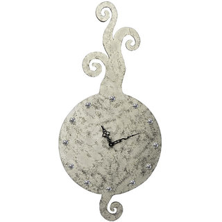 Long Curled Motifs Silver Textured Wall Clock
