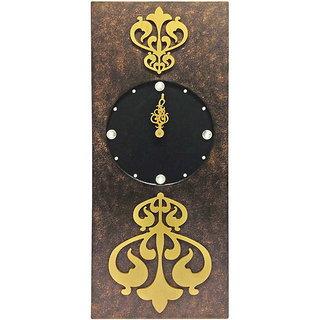 Rectangular Brown Two Toned Wall Clock