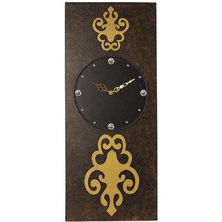 Rectangular Long Brown Textured Wall Clock