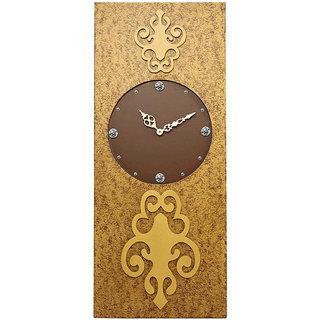 Rectangular Long Gold Textured Wall Clock