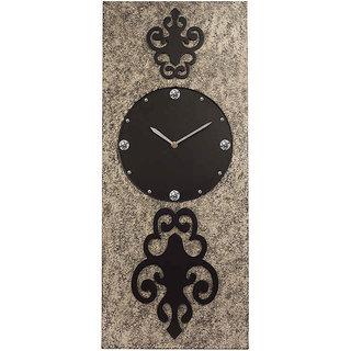 Rectangular Long Silver Textured Wall Clock