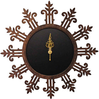 Round Brown Textured Wall Clock With Motifs