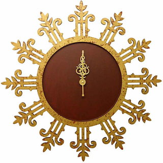 Round Gold Textured Wall Clock With Motifs