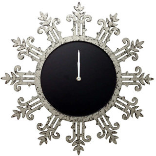 Round Silver Textured Wall Clock With Motifs