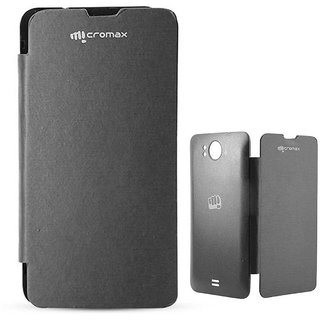 Black Leather Flip Cover Case for Micromax Canvas Doodle A111