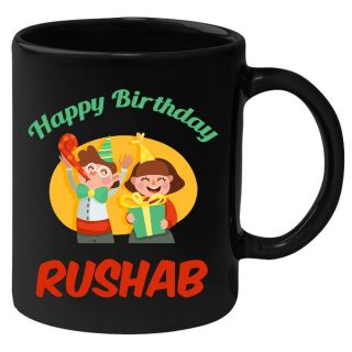 Huppme Happy Birthday Rushab Black Ceramic Mug (350 Ml)