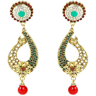 Shining Diva Flower & Paisely Designed Red & Green Beaded Hanging Earrings