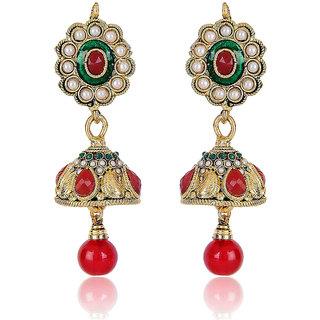 Shining Diva Red ,Green & White Beaded Jhumki