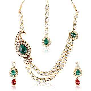 Shining Diva Two Stringed Paisley Kundan Studded Necklace & Set With Maangtika