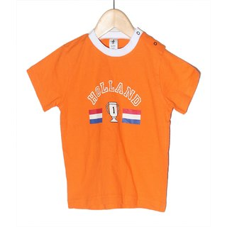 Early Smile Orange Cotton Half Sleeves T Shirts for Boys