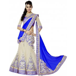 Blue Embroidered Womens Lehenga, Choli