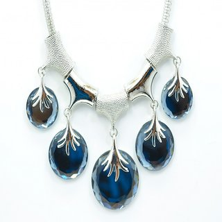 Yellow Chicky Summer Collection Silver Blue Stone Fashion Necklace Pendant Jewellery Set for Girls Women Ladies with Sil