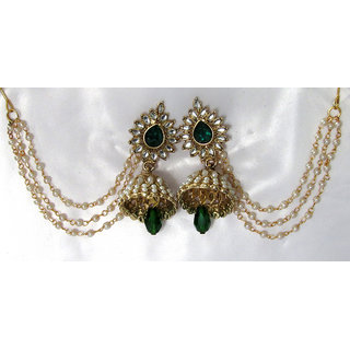 Green Drop Jhumka With Pearl Ear Chain Earring