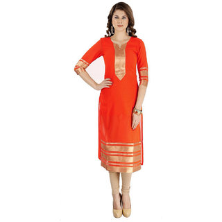 SuratTex Orange Printed Georgette Stitched Kurti