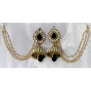 Black Drop Jhumka With Pearl Ear Chain Earring