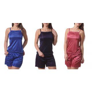 3 Combo Sets Satin Lycra Night Dress Nighty For Womens