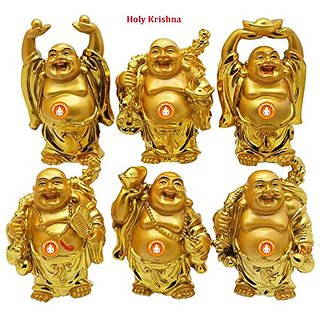Holy Krishna - 6 Assorted Golden Laughing Buddhas