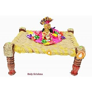 Holy Krishnas Krishna Brass Statue With Full Dress  Accessories with Cot - New Style R1