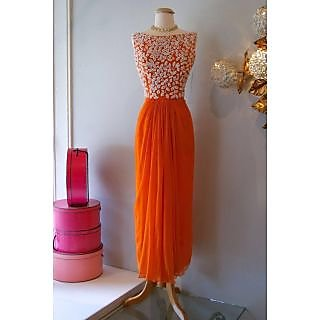 Designer Orange Georgette Embroidered Kurti
