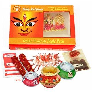 Holy Krishnas GRIHA-PRAVESH Puja Pack + Free Hanuman Yantra Card for Purse