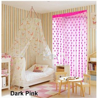 Angel Homes Beautiful Heart Shape Pink Designer Rod Pocket Curtain