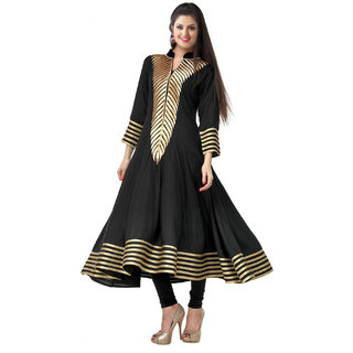 Surat Tex Black Color Georgette Heavy Zari Embroidered Semi-Stitched Kurti-I174KIAOS17XL