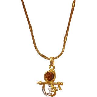 Men Style Crystal Cubic ZirconOm  Krishna Rudraksh  Gold  Alloy 00 Pendent For Men And Women