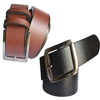 Sunshopping mens black and brown Leatherite needle pin point buckle belt