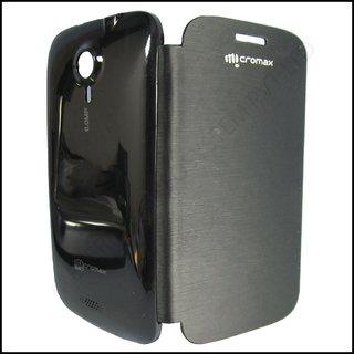 MICROMAX CANVAS HD A116 CANVAS 3 BATTERY REPLACEABLE FLIP COVER CASE BLACK COLOR