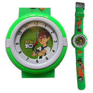 W57 - Kids Stylish Ben 10 Wrist Watch - Green Color