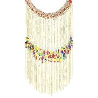 Adbeni Glass Beads On Metal Chain On Jute Braid  Handcraft Necklace-ADB-006