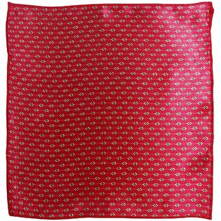 Serebroarts Solid Polyster Pocket Square Red