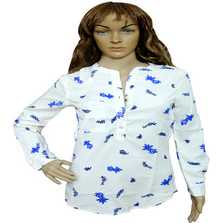 White Castle LONG SHIRT WITH BLUE FLOWER