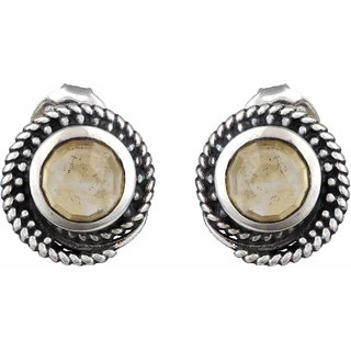 Mirror White Yellow 925 Sterling Silver Twisted Citrine Studs (MWSS1463)