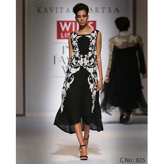 Floral Embroidered Black Midi Salwar Dress
