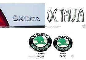 Skoda OCTAVIA car Monogram Emblem Chrome Skoda Car Monogram Logo Emblem